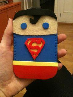 Funda Superman goma eva+fieltro/Superman mobile case foam rubber + felt