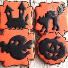 Halloween Haunted House Ghost Pumpkin Decorated Sugar Cookies by… Halloween Cookies Decorated, Halloween Sugar Cookies, Halloween Cupcakes, Decorated Cookies, Cookie Frosting, Royal Icing Cookies, Cupcake Cookies, Fall Cookies, Holiday Cookies