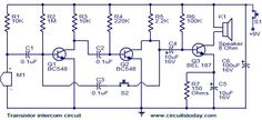 Transistor intercom circuit. | Todays Circuits ~ Engineering Projects | Final Year Projects | Electronics News