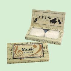 Soap packaged in a beautiful musical box. What an intriguing gift for the music lover. From Clover Fields. Clover Field, Soap Packaging, Handmade Soaps, Music Lovers, Great Gifts, Decorative Boxes, Packing, Candles, Fields