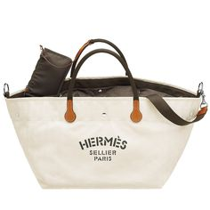 Hermès Cream Fourre-tout du Cavalier Bag   From a collection of rare vintage luggage and travel bags at https://www.1stdibs.com/fashion/handbags-purses-bags/luggage-travel-bags/