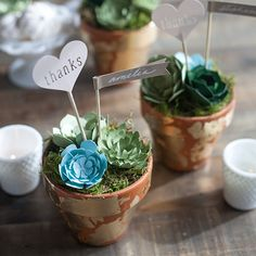 These paper succulent DIY wedding favors are perfectly on trend and have the added bonus of lasting a lifetime, so your guests have the ideal memento of your big day!