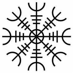 http://symboldictionary.net/?p=730  Aegishjalmur / Helm of Awe (ægishjálmr)  The Helm of Awe, a type of rune stave, is magical spell of protection used by early Vikings.  According to a number of legends, this apotropaic (protective) symbol, when worn between the eyes, was intended to confer invincibility in the wearer or instill fear in one's enemies.  The earliest mention of the aegishalmer is in the Eddas, although pictorial representations only date from around medieval times.