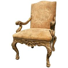3800 Giltwood Armchair in the Venetian style covereded in Fortune Velvet | From a unique collection of antique and modern lounge chairs at https://www.1stdibs.com/furniture/seating/lounge-chairs/