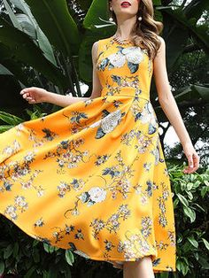 Sleeveless Polyester Casual Floral-print Midi Dress