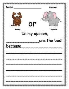 Opinion Writing: Favorite Zoo Animal (7 pages)