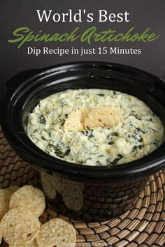 My new favorite party recipe. This spinach artichoke dip recipe is SO good and easy. Perfect appetizer or snack. My new favorite party recipe. This spinach artichoke dip recipe is SO good and easy. Perfect appetizer or snack. Cooker Recipes, Crockpot Recipes, Slow Cooker Dips, Crock Pot Party Recipe, Best Spinach Artichoke Dip, Easy Artichoke Dip, Spinach Dip Recipe Easy, Artichoke Hearts, Appetizer Recipes