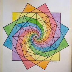 #fractal #geometry #symmetry #pattern #handmade #aquarelle #mathart #Escher #rainbow #vortices #vertigo #mandala #square