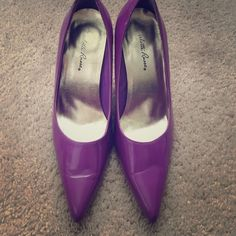 High heels Purple heels -condition worn a couple times has minor scuff on heel from rubbing on other pair lowest price Shoes Heels