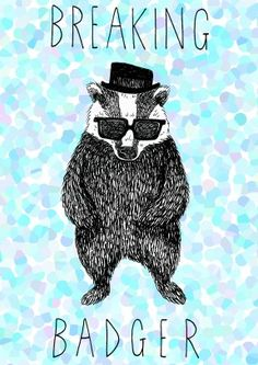 Jollyawesome.com - awesome illustration Breaking+Badger+|+Birthday+Card+|+JA1006