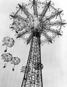 "Parachute Jump, Coney Island - circa 1946: Close-up of Parachute Jump with riders at Steeplechase Park. Exhibition quality print 11 x 14"" $199."
