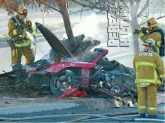 View photos and a video of the scene following Paul Walker's fatal car accident.