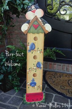 #712 Summer Kitty Porch Greeter (PATTERN) Wood Craft Patterns, Wood Block Crafts, Primitive Patterns, Painting Patterns, Wood Crafts, Wood Projects, Primitive Painting, Tole Painting, Painting On Wood