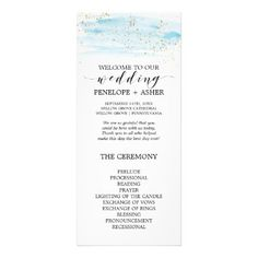 #glitter - #Watercolor Blue and Gold Sparkle Wedding Program