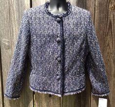 Emma James Jacket Blazer Size 16 Career Navy Tweed Fully Lined Fringe New Tags #EmmaJames #Blazer