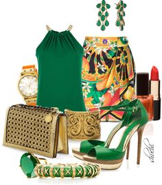 """Print Skirt and Emerald"" by shuchiu on Polyvore"