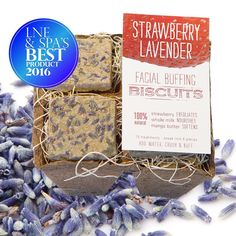 Oh boy, is it a #WinningWednesday for our Strawberry Lavender Facial Buffing Biscuits -- they won the industry's highly coveted LNE & Spa's Best Face Exfoliant Award! Strawberry extracts found within the mask help skin glow with delight! Simply crush & buff your way to silky smoothness with our pore-tightening -- and now award winning -- Strawberry Lavender Facial Buffing Biscuits! ...stay tuned for our new travel-friendly versions launching soon ...