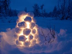 In Sweden and Finland we made snowball lanterns to light up walk ways when company was coming...they look beautiful at night, just make a little egloo out of snow balls light a tea light set it input the last snowball on top and there you go!