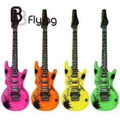 Wedding Birthday Night Party Favors Rock Star Bulk Night out KARAOKE Inflatable Guitars Rock Roll Toy (Color_Randomly)