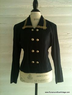Vintage 1980s Navy and Gold MilitaryStyle by runaroundsuevintage, $22.00