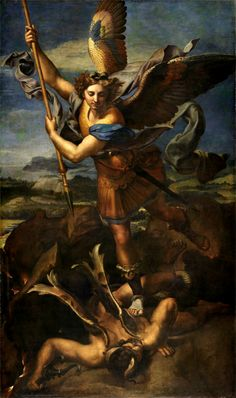 """""""San Michele sconfigge Satana""""  1518  Dimension: 268 x 160 cm  Musée du Louvre, Parigi"""