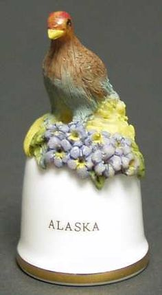 Danbury Mint Birds and Flowers of the 50 States Thimbles: Alaska
