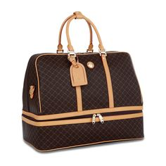 @Overstock - Travel in style wherever you go with this Rioni traveler handbag that provides two spacious compartments and a zipper pocket. Featuring a chocolate canvas body accentuated with a golden print, this purse is completed with a tan leather handle and trim.http://www.overstock.com/Luggage-Bags/RIONI-Signature-Duffel-Dome-Traveler/3892314/product.html?CID=214117 $179.99