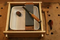 Sharpening station for water stones the pond - by mafe @ LumberJocks.com ~ woodworking community
