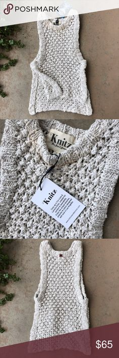 Knitz For Love and Lemons Oatmeal High Low Sweater Sleeveless high low chunky knit sweater with high slits up the sides by Knitz For Love and Lemons. Size small. New with tags! For Love and Lemons Sweaters