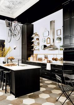 paris bistro kitchen style. black white kitchen.