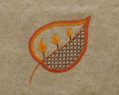 Embroidery patterns for leaves