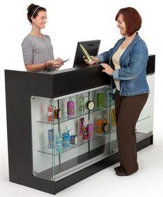 6ft. Cash Wrap w/Display Case Front, Locking Drawers & Shelves on Backside - Black