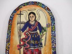 Hand painted wood dough bowl with Saint Gabriel scene, mexican folk art Hand Painted Crosses, Saint Gabriel, Dough Bowl, Clay Figurine, Cross Paintings, Mexican Folk Art, Art Day, Painting On Wood, Making Out