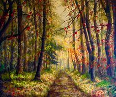 """Autumn Glow"", acrylic on canvas, 91 x 76 cm, by Cathy Yarwood-Mahy Glow, Paintings, Autumn, Canvas, Artwork, Tela, Work Of Art, Paint, Fall Season"