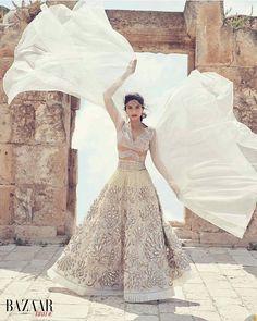 Double Tap if you Love Sonam Kapoor cover shoot for Harper's Bazaar Bride India Magazine June edition in bridal lehenga by #abujanisandeepkhosla