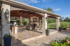 Cypress Staycation - tropical - patio - houston - by Wamhoff Design Backyard Pavilion, Backyard Gazebo, Backyard Patio Designs, Backyard Retreat, Pergola, Living Pool, Outdoor Living Rooms, Outside Living, Outdoor Kitchen Patio