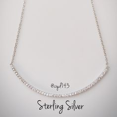 """Sterling Silver Long Curve Bar Necklace Elegant sterling silver cubic zirconia curve long bar necklace.   ✨Stamped 925 ✨Measures 15.5"""" to 17""""   ✨Made in USA Jewelry Necklaces"""
