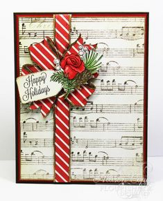 Red Diagonal DP w/musical background DP, Pine sprigs (die cuts) - Happy Holidays