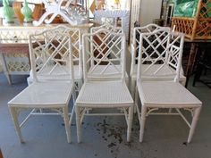 6 Faux Bamboo Chinese CHIPPENDALE Chairs