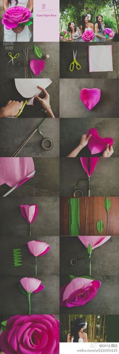 DIY: Big Flower. My mom use to make her own flowers so this brings back memories