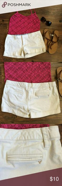 American Eagle Stretch Shorts Off white American Eagle short shorts!  Size: 8 98% cotton, 2% Spandex American Eagle Outfitters Shorts