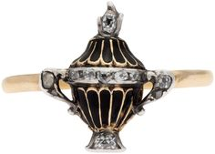 18th century memorial ring, enamel on gold, diamond set. Mary Titchener Antique Jewellery – South Yarra – Melbourne