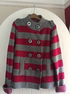 Per-Una-Ladies-Jacket-Cardigan-Fushia-And-Grey-Size-Medium