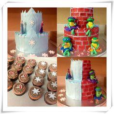 Frozen and Ninja turtle cake