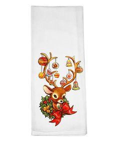 Vintage Reindeer Dish Towel