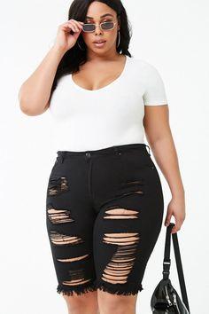Forever 21 Plus Size Distressed Bermuda Shorts , Black Best Plus Size Jeans, Plus Size Belts, Plus Size Shorts, Plus Size Outfits, Next Fashion, Plus Size Fashion, Curvy Fashion, Women's Fashion, Plus Size Dresses Australia