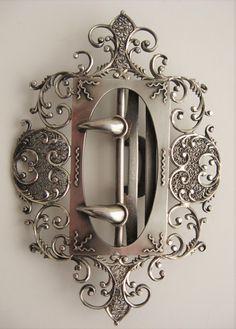 Ornate Victorian Sterling Filigree Scrollwork Belt Buckle Gothic Claw Talon