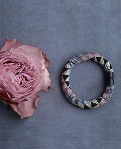 Chic Bead Crochet Bracelet Black and Pink Bracelet Crochet with beads jewelry Geometric pattern Comtemporary Bangle
