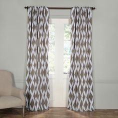 Exclusive Fabrics & Furnishings Semi-Opaque Crosshatch Grey Blackout Curtain - 50 in. W x 108 in. L (Panel)