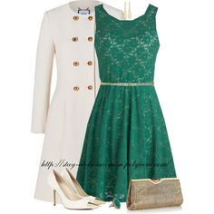 green dress and white coat...perfect pair!